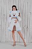 Ведмедик плюшевий Yarokuz Джон 110 см Білий з блакитним, фото 3