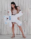 Ведмедик плюшевий Yarokuz Джон 110 см Білий з блакитним, фото 4