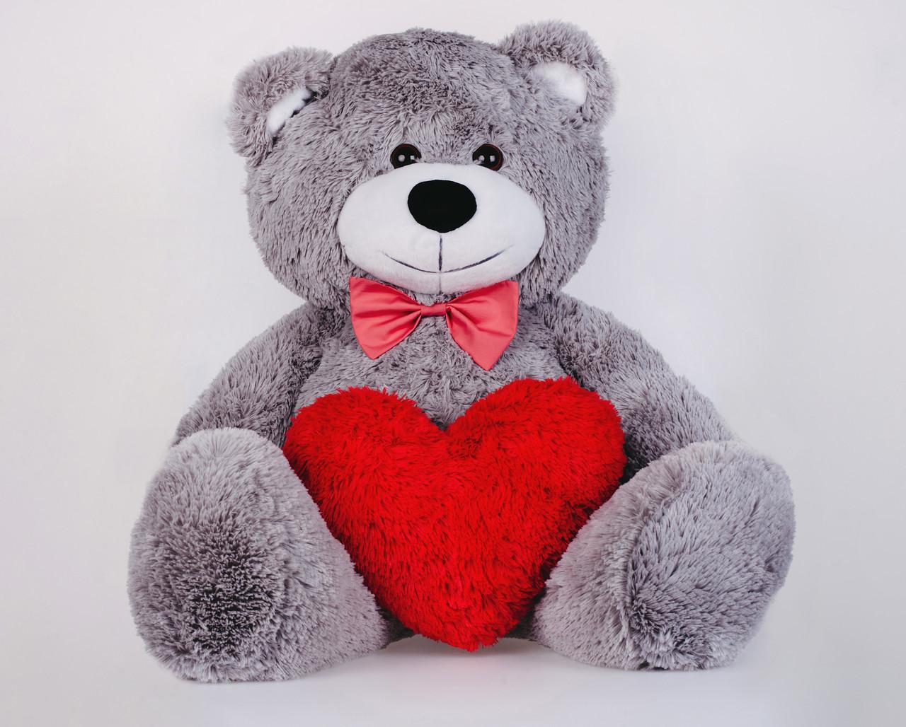 Мишко з сердечком Yarokuz Джон 110 см Сірий