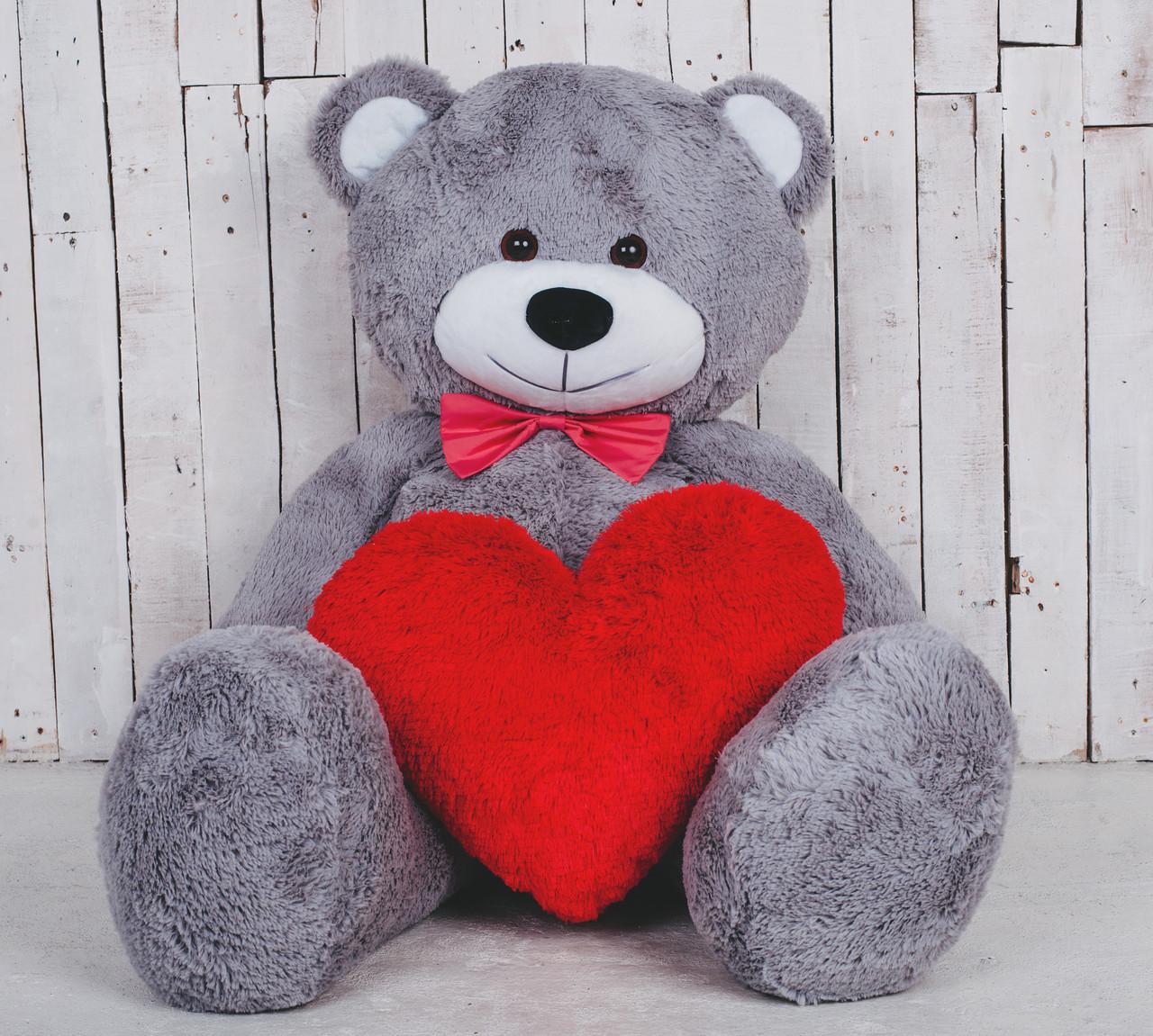 Велика м'яка іграшка ведмедик з серцем Yarokuz Біллі 150 см Сірий