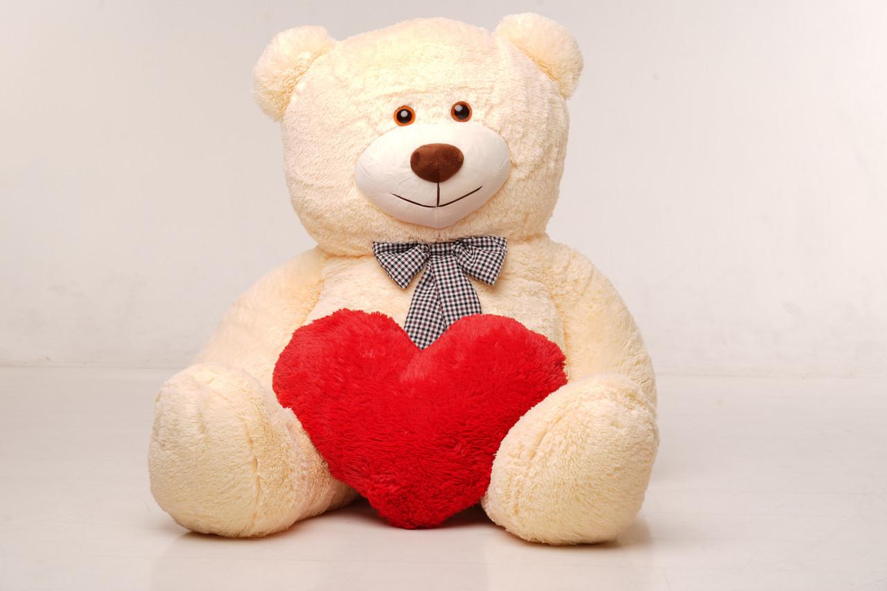 Великий плюшевий ведмедик з сердечком Yarokuz Джеральд 165 см Персиковий