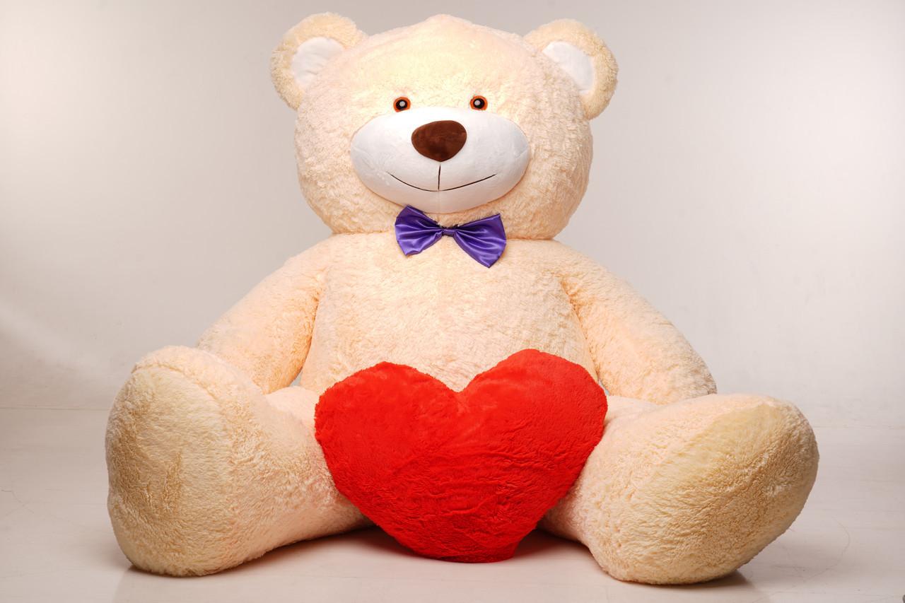 Величезний м'який ведмедик з серцем Yarokuz Вільям 250 см Персиковий