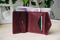 Женский кожаный мини кошелек ручной работы