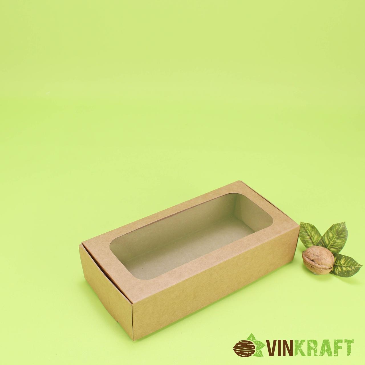 Коробка 200*100*50 для зефіра і  десертів з вікном, крафт