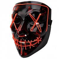 Неоновая маска из фильма Судная ночь с подсветкой. Для хеллоуина и вечеринок Red