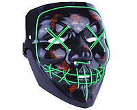 Неоновая маска из фильма Судная ночь с подсветкой. Для хеллоуина и вечеринок Green