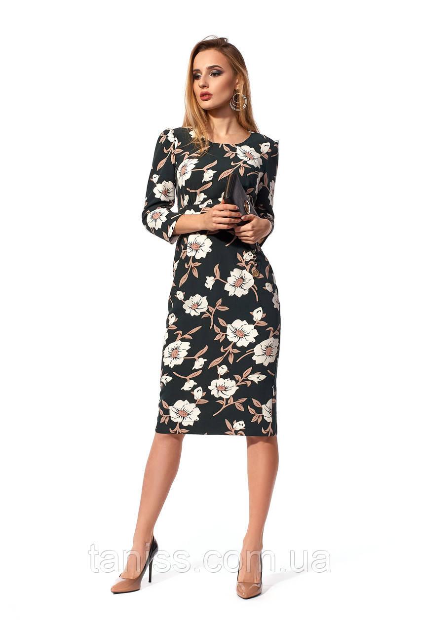 Офисное, женское,повседневное платье, ткань креп костюмный,размеры 42,44,46,48 (1232,1) бутылочный