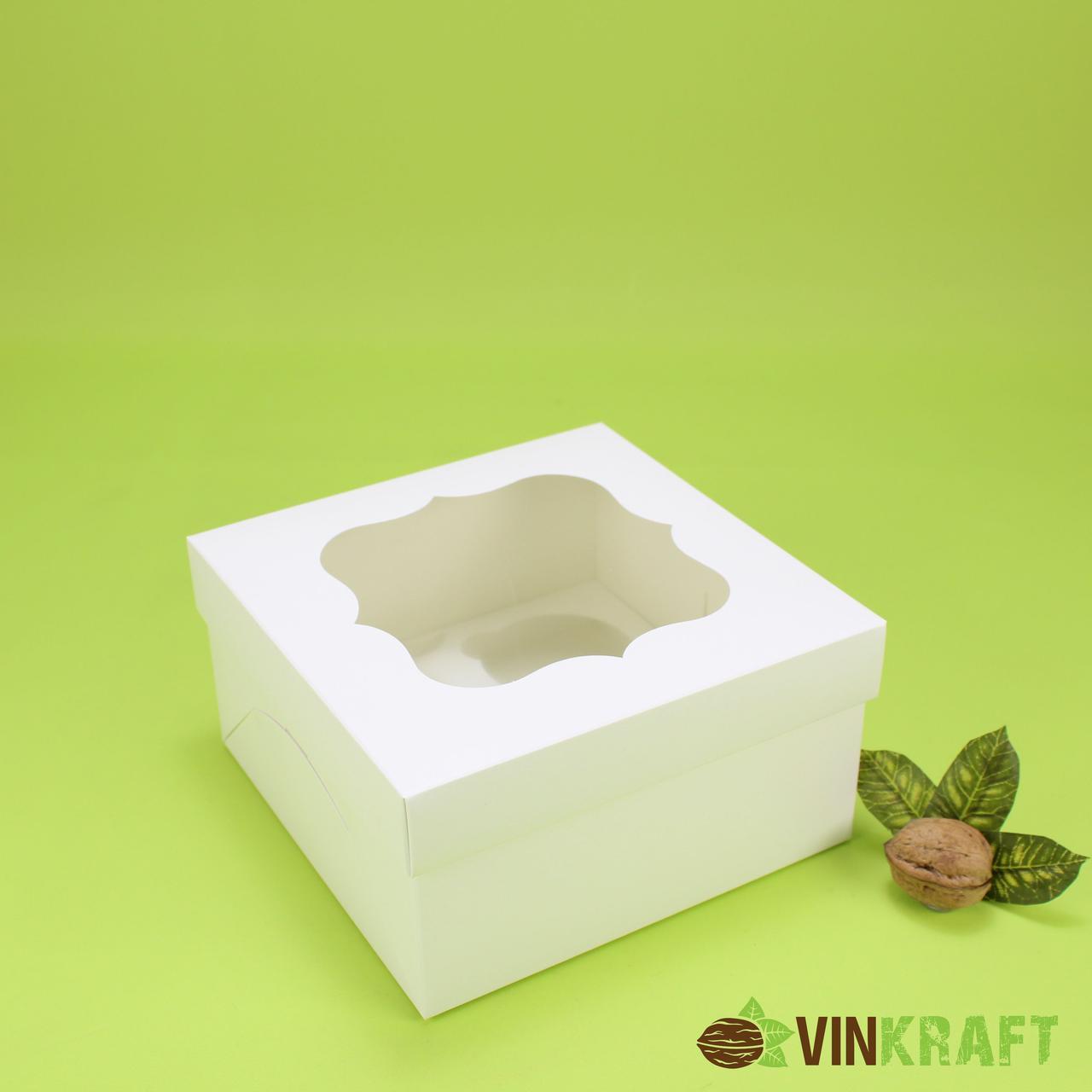 Коробка 170*170*90 для капкейков з вікном (4 шт), біла