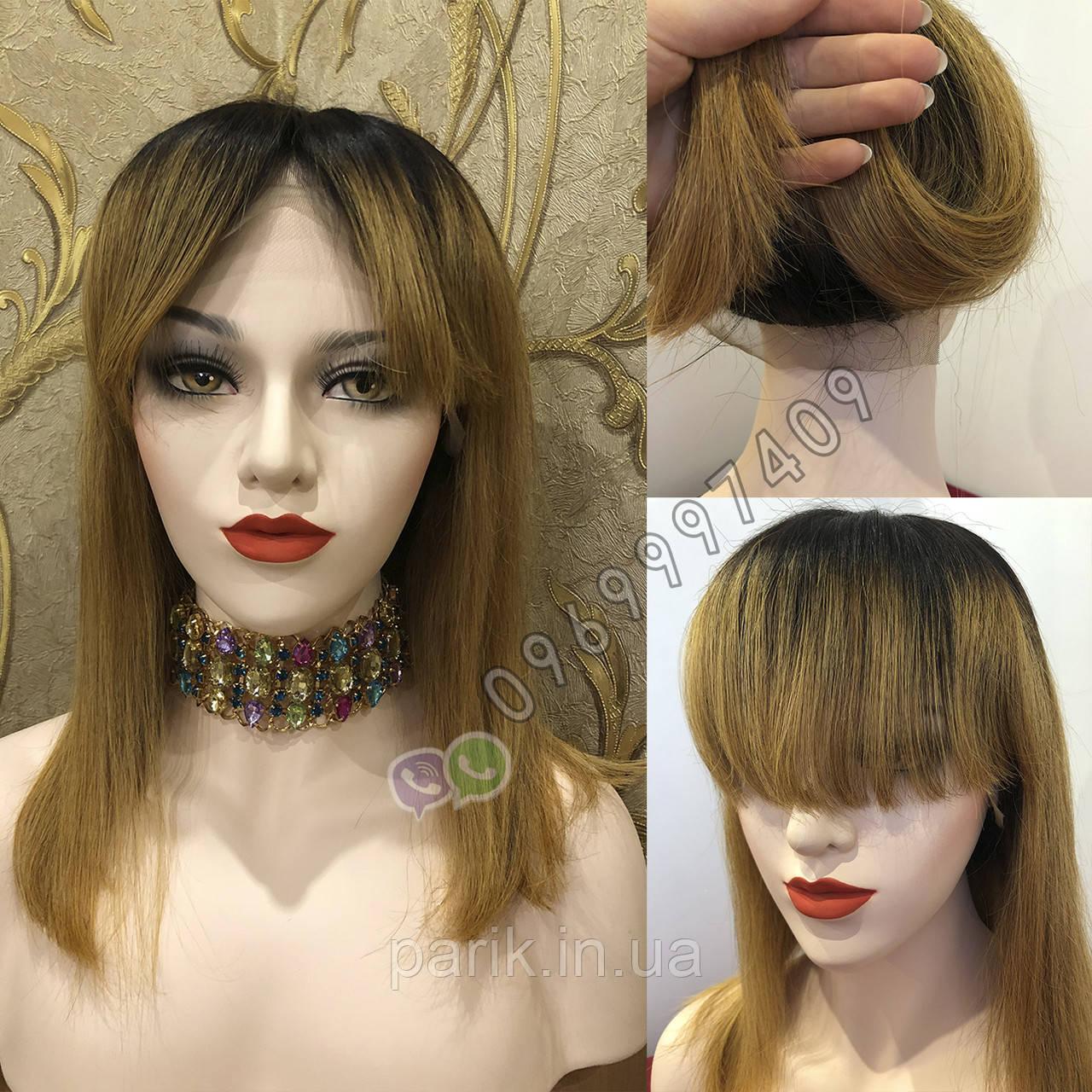 ✨🧡 Натуральный парик с чёлкой отросшими корнями, удлинённое каре 🧡✨