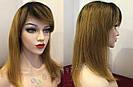 ✨🧡 Натуральный парик с чёлкой отросшими корнями, удлинённое каре 🧡✨, фото 7