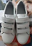 Mante white! Брендовые кожаные белые подростковые детские туфли на липучках кроссовки слипоны кеды, фото 3