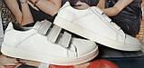 Mante white! Брендовые кожаные белые подростковые детские туфли на липучках кроссовки слипоны кеды, фото 4