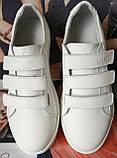 Mante white! Брендовые кожаные белые подростковые детские туфли на липучках кроссовки слипоны кеды, фото 10