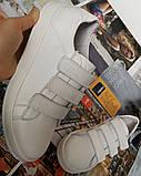 Mante white! Брендовые кожаные белые подростковые детские туфли на липучках кроссовки слипоны кеды, фото 6