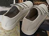 Mante white! Брендовые кожаные белые подростковые детские туфли на липучках кроссовки слипоны кеды, фото 9