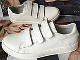 Mante white! Брендовые кожаные белые подростковые детские туфли на липучках кроссовки слипоны кеды, фото 8