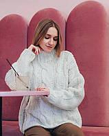 Теплый женский вязаный свитер в косы Dilvin белый