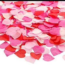 Конфетти сердечки красные розовые белые ассорти маленькие 15 гр 2,5 см