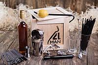 Ящик 4MAN Бармен №1 . Подарочные наборы бармена. Бокс барного инвентаря в ящике с ломом. Подарок мужчине