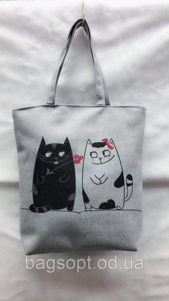 Эко-сумка шоппер тканевая пляжная из хлопка