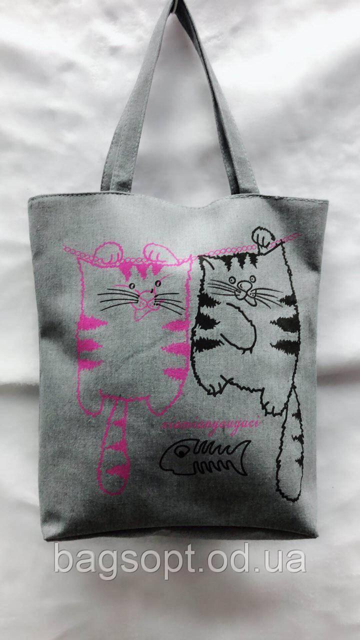 Экосумка шоппер пляжная тканевая летняя принт коты