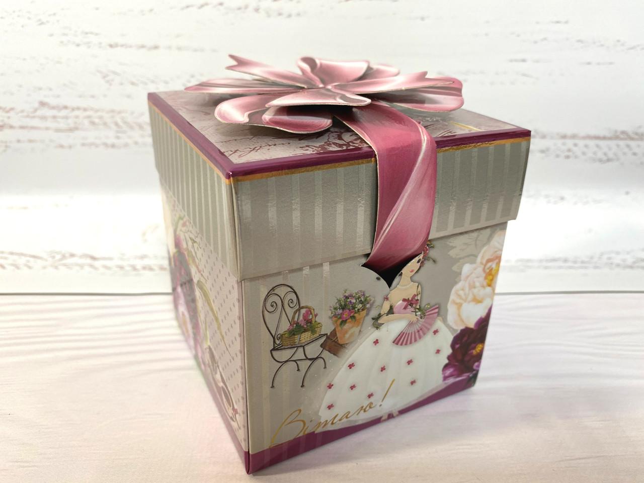 """Коробка для подарков """"пион"""" размер 10х10х10 см."""