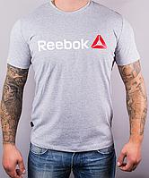 Размеры: 46,48,50,52,54,56,58. Мужская футболка Reebok (Рибок), 100 % хлопок - светло-серая