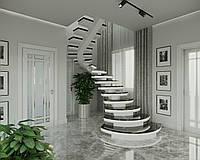 Лестница в квартиру. Бетонная лестница на центральной несущей.