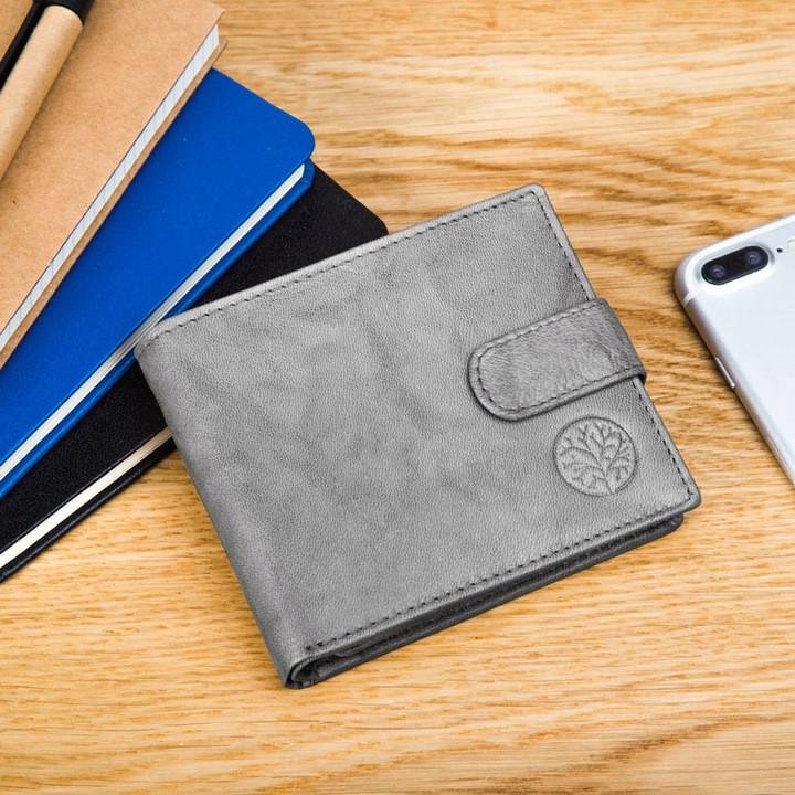 Чоловічий шкіряний гаманець Betlewski з RFID 9,2 х 11 х 2 (BPM-GTAN-63) - сірий