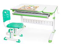 Комплект Evo-Kids стол Martin (арт. Evo-430) WZ+стул Evo-301 Z -столешница белая / ножки белые с зеленым
