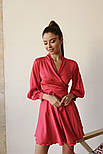 Женское шелковое платье на запах с поясом в расцветках, фото 4
