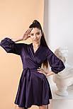 Женское шелковое платье на запах с поясом в расцветках, фото 8
