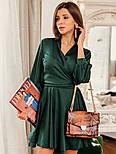 Женское шелковое платье на запах с поясом в расцветках, фото 10