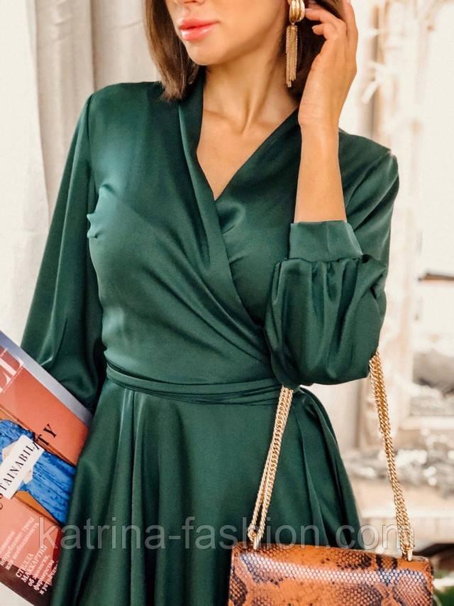 шелковое платье на запах с поясом