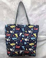 Пляжная эко-сумка шоппер тканевая летняя молодежная принт Котики