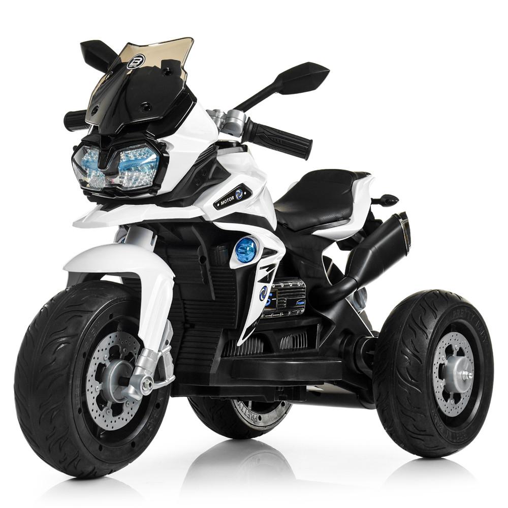Детский мотоцикл Bambi с кожаным сиденьем M 4117EL-1 белый