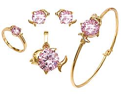"""Детский набор ХР """"кулон, серьги-гвоздики, браслет и кольцо безразмерное"""" Цвет: позолота; Камни:розовый циркон."""