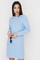 Платье прямого силуэта голубое