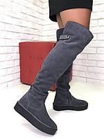 Женские замшевые Ботфорты темно-серые еврозима, фото 1