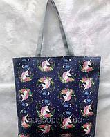 Женская тканевая пляжная эко-сумка шоппер