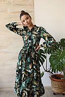 """Женское шикарное льняное платье-рубашка с рюшами по низу """"Листья"""""""