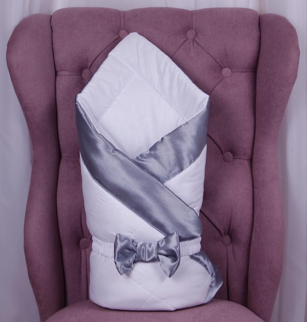 Демисезонный конверт одеяло Beauty белый с серым