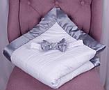 Демисезонный конверт одеяло Beauty белый с серым, фото 4