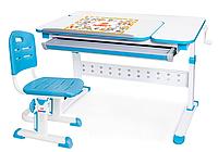 Комплект Evo-Kids стол Martin (арт. Evo-430) WB+стул Evo-301 BN - столешница белая / ножки белые с голубым
