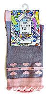 Носки детские Kids Socks V&T classic ШДКг 132-024-0380 Розовые сердечки р.18-20 Серый