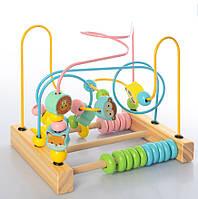 Детская деревянная развивающая игрушка лабиринт животные