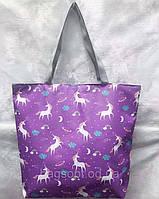 Молодежная летняя пляжная сумка-шоппер тканевая
