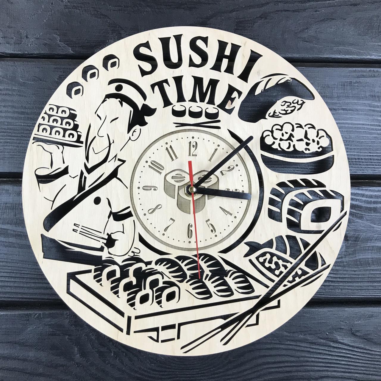 Тематические интерьерные настенные часы «Суши»