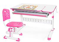 Комплект Evo-Kids стол Martin (арт. Evo-430) WP+стул Evo-301 PN - столешница белая / ножки белые с розовым