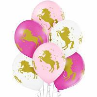 """Латексна кулька з малюнком єдиноріг одним кольором 14"""" 35см Belbal"""